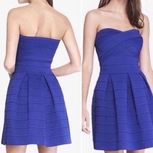Express Blue Bandage Strapless Dress